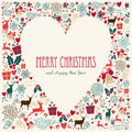 Vintage Merry Christmas Love Heart Card Royalty Free Stock Photography - 35583747