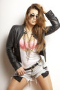 Beautiful Adult Sensuality Woman In Black Jacket And Sunglasses Royalty Free Stock Image - 35595236