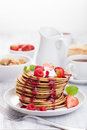 Pancakes With Berry And Jam For Breakfast Stock Photo - 35595780