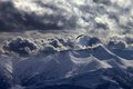 Evening Mountain With Clouds And Silhouette Of Parachutist Stock Images - 35600894