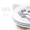 Plates And Forks - Utensils For Serving, Isolated Royalty Free Stock Images - 35619399
