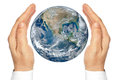 Hands Holding The Planet Earth Isolated On A White Background. Stock Photo - 35620020