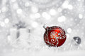 Red Christmas Bauble On Neutral Background, Text Space Royalty Free Stock Photos - 35630708