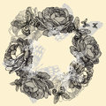 Wreath Of Roses, Butterflies, Hand-drawing. Vector Royalty Free Stock Image - 35638416