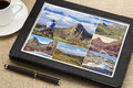 Hiking Pictures On Digital Tablet Royalty Free Stock Photography - 35644857