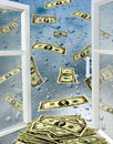 Opened Window With Drops Of Water And Dollars Stock Photo - 35648800