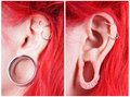 Stretched Ear Lobe Piercing Royalty Free Stock Images - 35649669
