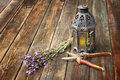 Vintage Oriental Lamp, Sage Plant And Garden Scissors On Wooden Table. Still Life Concept. Fine Art. Royalty Free Stock Image - 35670966
