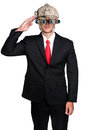 Business Man War Soldier Helmet Isolated Royalty Free Stock Image - 35675056