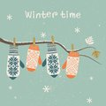 Card Design With Christmas Mittens.  Stock Photography - 35701822