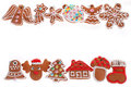 Christmas Border With Gingerbread Cookies Isolated On White Royalty Free Stock Photo - 35710595