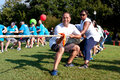 Two Teams Pull Ropes In Adult Tug-Of-War Fundraiser Stock Images - 35716174
