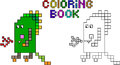 Coloring Book Pixel Monster Third Royalty Free Stock Images - 35730699