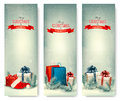 Christmas winter banners with presents.
