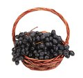 Black Ripe Grapes In Basket. Royalty Free Stock Images - 35734769