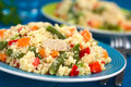Couscous With Chicken, Bean, Carrot And Bell Pepper Royalty Free Stock Image - 35741206