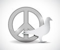 Peace Symbol And Dove Illustration Design Royalty Free Stock Photos - 35741888