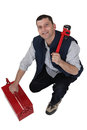 Tradesman With A Pipe Wrench Royalty Free Stock Image - 35744596