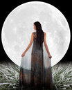 Woman In Front Of A Moon. Stock Images - 35761484