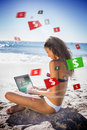 Brunette Woman In Bikini Gambling Online Royalty Free Stock Photography - 35777007