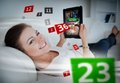 Woman Lying On Couch And Gambling On Tablet Stock Images - 35777034