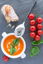 Overhead View Of A Bowl Of Tomato Soup Royalty Free Stock Photos - 35777318