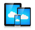 Cloud Computing On Mobile Devices Royalty Free Stock Photos - 35805218