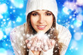 Portriat Of A Young Woman In A Hoodie Holding Snow Royalty Free Stock Photos - 35805258