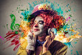 Clown Listening To The Music Stock Image - 35822021