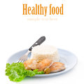 Rice And Fried Chicken Royalty Free Stock Photography - 35830277