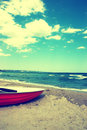 Boat On The Beach.Vintage Beach Background Stock Photo - 35838350