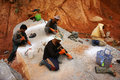 Workers Carve Out Large Rock  By Hammer And Splitter Stock Images - 35838834
