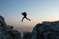 Hikers Jumping Royalty Free Stock Images - 35850759