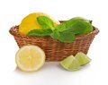 Lemon, Lime And Mint In Basket Royalty Free Stock Photos - 35860318
