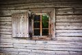 Small Window In The Wall Of An Old Wooden House Stock Photos - 35861123