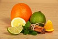 Citrus, Connected Sticks Of Cinnamon And Mint Stock Image - 35869201