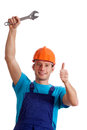 Repairman With Metal Wrench Royalty Free Stock Photography - 35896147