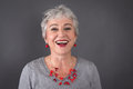 Portrait Of Laughing Gray-haired Lady Royalty Free Stock Photo - 35917205