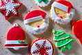 Christmas Cookies Xmas Tree Santa Snowflake On Recycled Paper Stock Photography - 35922932