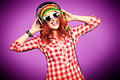 Girl In Headphones Royalty Free Stock Images - 35928669