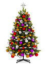 Decorated Christmas Tree Isolated On White Stock Image - 35940941