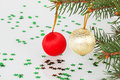 Two Christmas Balls On The Tree Stock Photo - 35941410