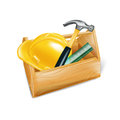 Wooden Tool Box With Hard Hat, Hammer And Ruler Isolated Royalty Free Stock Photography - 35943607