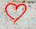 Red Love Heart Hand Drawn On Brick Wall Grunge Textured Background Royalty Free Stock Photo - 35943955