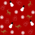Pattern For Wrapping Paper And Filled With Deer And Snowman Stock Image - 35945131