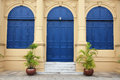 Blue Large Door And Windows Royalty Free Stock Photos - 35947688