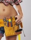 Closeup Of Woman With Tools Royalty Free Stock Image - 35951676
