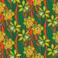 Vintage Pattern With Daffodils Or Narcissus. Stock Photos - 35958543