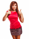 Brunette Girl Yes Woman Shows Positive Sign Thumbs Stock Photo - 35969970