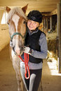 Rider With Horse In Stable Stock Images - 35983544